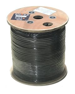 SMEDZ 100m Wooden Drum of Black External Grade 500MHz CAT6 PE Cable