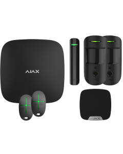Ajax Kit 2 Hub 2 - Hub 2, DoorProtect, HomeSiren, 2x MotionCam, 2x SpaceControl (Black)