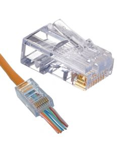(1) Push Through RJ45 CAT6 Plug Crimp Connector 8P-8C