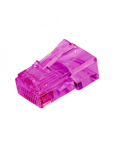 (100) Purple RJ45 Male Crimp Plug (8P8C) - CAT5e Connector