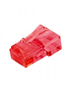 (100) Red RJ45 Male Plug (8P8C) - CAT5e Connector