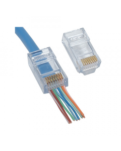 (100) RJ45 CAT5e Push Through Crimp Connector