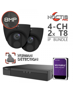 Noctis Pro 4-ch 4K NVR | 2x 8MP Human Form Black Turrets w/ 1TB Bundle [Optional HDD Upgrades]