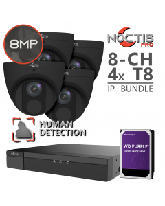 Noctis Pro 8-ch 4K NVR | 4x 8MP Human Form Black Turrets w/ 1TB Bundle [Optional HDD Upgrades]
