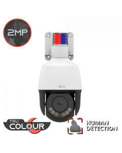 2MP Mini Pan Tilt Zoom – White 2.8-12mm Vari Focal Lens, 4x Optical Zoom, Active Deterrent & TruColour PTZ