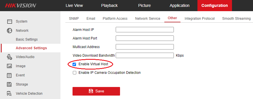 Hikvision NVR Enable Virtual Host